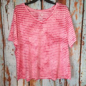 Plus Size Pink and White Striped Shirt